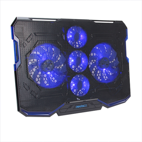 ENHANCE Cryogen Gaming Laptop Cooling Pad - 5 Quiet Cooler Fans and 2 USB Ports - Blue