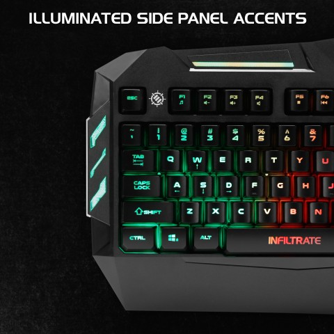 ENHANCE Infiltrate KL1 LED Gaming Keyboard - Multi Color Backlit Keyboard - Black