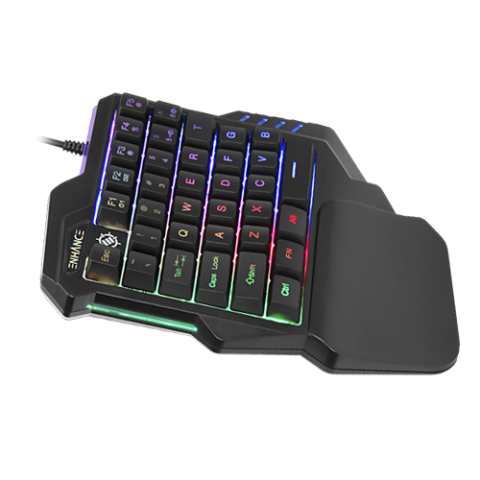 ENHANCE One Handed Keyboard Gaming Keypad with 7 Color LED and Programmable Keys - Black